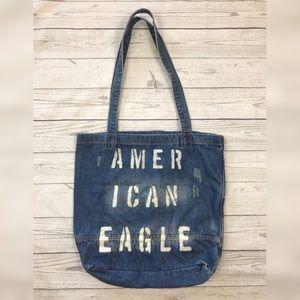 American Eagle Distressed Denim Jean Tote Bag